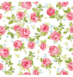 seamless floral pattern with little red roses vector image