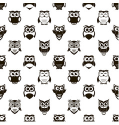 seamless pattern with cartoon black owls vector image