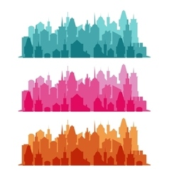 set cityscape colorful background vector image