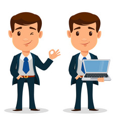 set of business man cartoon character in smart vector image
