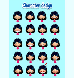set of cute asian girls emotions vector image
