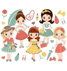 Set with cute little girls in retro style vector