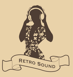 Silhouette of dj woman retro style with vector