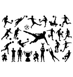 silhouettes soccer player with ball and trophy cup vector image