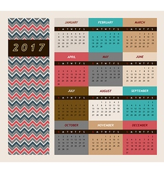 Simple 2017 calendar Week vector