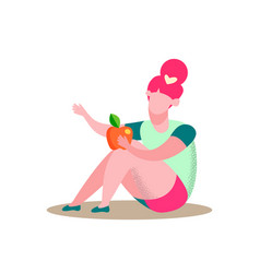 Sitting girl holds apple flat vector