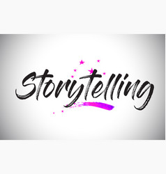 Storytelling handwritten word font with vibrant vector