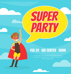 super party invitation card happy birthday banner vector image