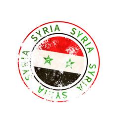 syria sign vintage grunge imprint with flag on vector image