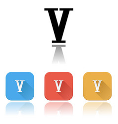 V roman numeral icons colored set with reflection vector