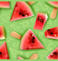 watermelon realistic seamless pattern vector image
