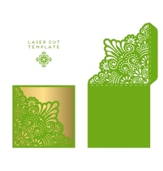 wedding card laser cut template vector image
