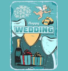 Wedding ceremony vintage greeting card design vector