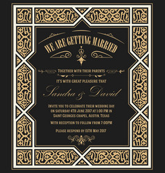 Wedding invitation vintage card with floral frame vector