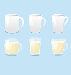 White mugs and glass mugs vector