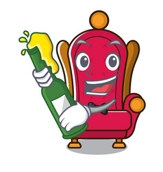 With beer king throne mascot cartoon vector