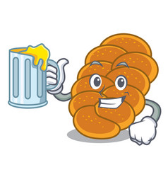 With juice challah mascot cartoon style vector