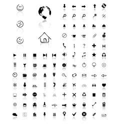 100 glossy web icons vector image vector image