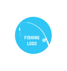 blue simple fishing logo vector image