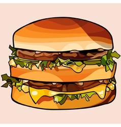 cartoon double big hamburger vector image