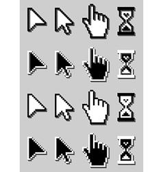 Cursor Icon Set Mouse Hand Arrow Hourglass vector image