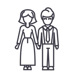familywoman and man line icon sign vector image vector image