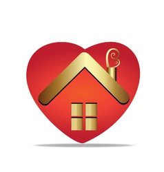 House and heart symbol logo vector image vector image