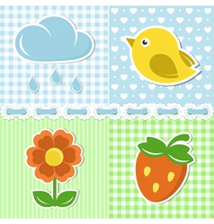 Summer icons of flower strawberry cloud and bird vector image