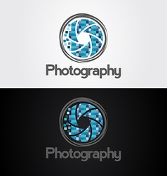 Symbol of camera shutter template logo design vector