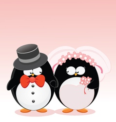 wedding penguins vector image vector image