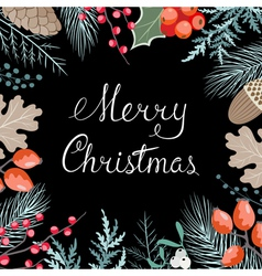 Christmas floral card vector image