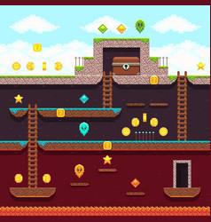 computer 8 bit pixel video game platform and vector image