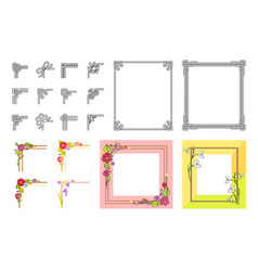 decorative colorful frame collection on white vector image