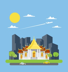 Flat design of Thai temple vector image vector image