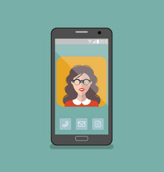 girl in glasses app icon on vector image