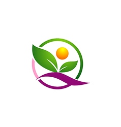 leaf organic nature people logo vector image vector image