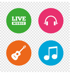 musical elements icon music note and guitar vector image vector image
