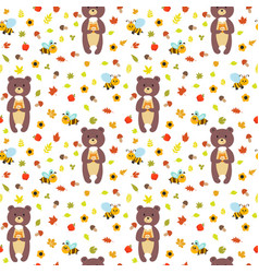 seamless pattern with funny bears and bees cute vector image