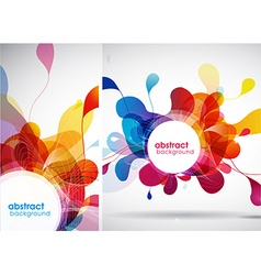 Set of abstract colored backgrounds with leafs vector image vector image