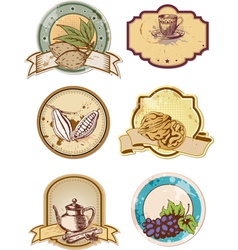 set of hand drawn food and drink labels vector image vector image