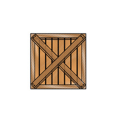 wooden box cargo delivery merchandise vector image