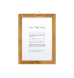 Wooden Frame Isolated on White vector image