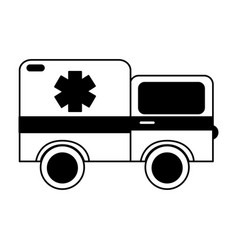 Black icon ambulance car cartoon vector