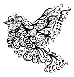 flying bird tattoo sketch zentangle stile vector image vector image