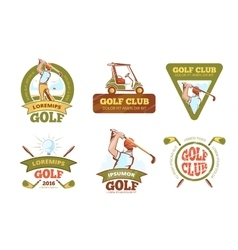 Golf sports club tournament color labels vector image