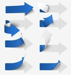 Set of blue paper arrow stickers vector image vector image
