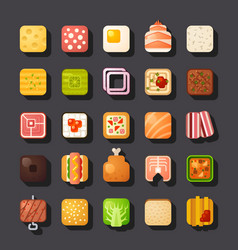 square shaped food icon set vector image