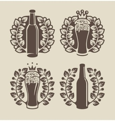 beer glasses bottle and laurel wreath vector image vector image