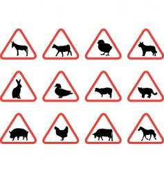 farm animals warning signs vector image vector image