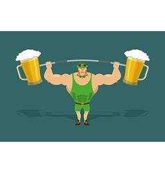 leprechaun is strong Powerful leprechaun and vector image vector image